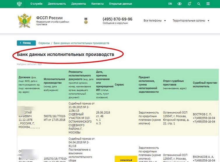Ответ из банка данных исполнительных производств ФССП
